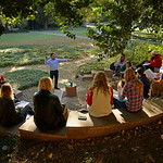 Shervon Cassim teaches class at the outdoor classroom of the Court of North Carolina, just outside Tompkins Hall.