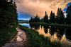 Sunset in Jackson Hole (Jim Nix / Nomadic Pursuits) Tags: aurorahdr2017 grandtetons hdr jacksonhole jimnix luminar macphun nomadicpursuits sony sonya7ii wyoming clouds cloudy goldenhour hike landscape mountains reflection stream sunset trail travel