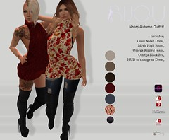 Bijou /// Natas Outfit [Exclusive on Hashtag Okt Round] (BijankRau aka Bijanka Zuta ツ) Tags: hashtag event bijou couture fashion secondlife sl model hq maitreya slink belleza omega hud color forrest autumn oktober bra jeans overknee boots knitted dress sweater