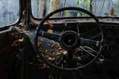 Not for sale he said. Going to fix some day he said. (Ken Mattison) Tags: cars webs old vintage spiderweb pov pointofview autos panasonic panasoniclumix fz1000 composition antique usa