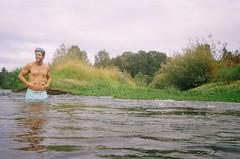 Last Days of Summer (Caroline Kutchka Folger) Tags: man love river summer molalla smile swim onetimeuse september 35mm underwatercamera