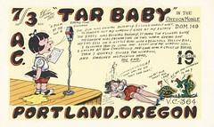 The Viking: Tar Baby - Portland, Oregon (73sand88s by Cardboard America) Tags: vintage qsl qslcard cbradio cb theviking oregon turtle dirty