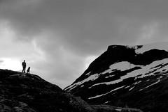 Norway 5 (pjarc) Tags: europe europa norvegia norway view trollstigen 2017 travel vacanza tour uomo cane man dog montagne mountains neve snow cielo sky foto photo digital bw black white nikon dx paesaggio