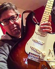 Pier Giacalone with the new American Pro Strat (hopetownsound) Tags: hopetownsound doylestown producer recordingstudio recording strat stratocaster guitarlove guitarplayer guitarist guitar fender