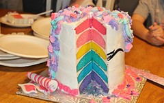 inside the rainbow (ladybugdiscovery) Tags: inside cake rainbow birthday purple blue teal yellow pink rose sweet dessert