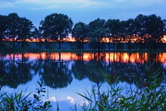 summer moods (JoannaRB2009) Tags: summer mood bluehour blue water reflections tree trees landscape view nature plants evening sunset pond miliczponds stawymilickie lowersilesia dolnyśląsk polska poland dolinabaryczy