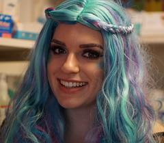 a touch of purple for Hallowe'en (quietpurplehaze07) Tags: halloween chandler wig purple turquoise smile portrait