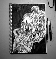 Inktober 2017 - Blind (Marcos D. Torres) Tags: indoor painting mural paint pintura pintor art artist draw drawing desenho design pen pencil marker spray spraycan paper doodle rabisco rascunho exercise sketch sketchbook caderno outdoor black white yellow orange purple blue red green colorfull pb bw wood glass metal face portrait type letter typography profile hand skull animal inktober rat mouse lemon fruit movie simpsons poison underwater blind shy bee cigarrete boat zombie
