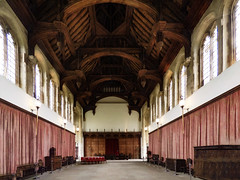 The Great Hall at Eltham Palace (Steve Taylor (Photography)) Tags: greathall elthampalace vaulted curtains architecture brown pink red white wooden uk gb england greatbritain unitedkingdom london digital art heritage