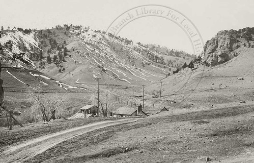 Photo - View of the Sunshine canyon entrance and the Silver Lake Ditch (c. 1900).