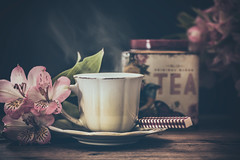 Tea time (Ro Cafe) Tags: stilllife cup flowers home tea cosy dark light smoke steam teabox nikkormicro105f28 nikond600