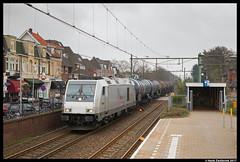 Rheincargo DE 803, Naarden-Bussum 01-04-2017 (Henk Zwoferink) Tags: bussum noordholland nederland nl rheincargo irp independent rail partner henk zwoferink de803 bombardier traxx nwb ketelwagens de