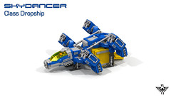 Skydancer Class Dropship (CK-MCMLXXXI) Tags: lego moc dropship spaceship starfighter landing container povray digital render ldd