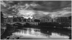 sotto un cielo che cielo non è, under a sky that sky is not (Massimo Vitellino) Tags: rome tevere city sky dramatic dark hdrblackandwhite outdoors travel cloud skyland cityscape abstract conceptual contrast noperson river landscape
