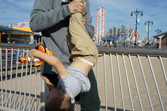 Upside-Down (dtanist) Tags: nyc newyork newyorkcity new york city sony a7 konica hexanon 40mm coney island boardwalk steeplechase pier brooklyn kid child upside down