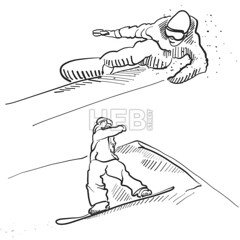 Two Snowboarder Jumping Situation Sketches (Hebstreits) Tags: active art background black boy cartoon casual cold continuous design doodle drawing drawn energy fun hand healthy holiday human illustration isolated jumping lifestyle line male man note outdoor paper people person scribble season set single sketch snow snowboard snowboarder sport symbol texture vector white winter young