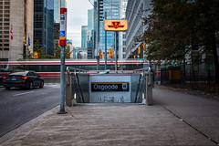 Methods of Transportation (Paul Flynn (Toronto)) Tags: ttc streetcar bus stop entrance tram train sign toronto transit commission transportation downtown city urban long exposure nd filter signs