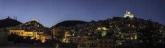 Nighttime moving softly over Hermoupolis (amfipolos) Tags: night nightview nightphotography panoramic panorama pano nightlights city cityscape citylights landscape sky hill church churches dusk twilight hermoupolis syros island cyclades aegean greece outdoors nikond7200