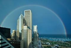 Rainbow over the lake. (bkkay1) Tags: chicago lakemichigan buildings sailboats