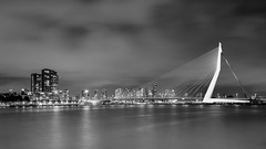 Lightened Ersasmus (frank_w_aus_l) Tags: rotterdam erasmus brücke bridge architecture longexposure nikon netherlands fineart city cityscape skyscraper monochrome zuidholland niederlande nl df sw blackandwhite