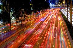 Red Flow (Wilson Au | 一期一会) Tags: hongkong gloucesterroad wanchai night longexposure fujifilmxe2 xf1855mmf284rlmois fujinon lighttrails doubleexposure highway