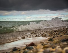 Grace Road rocks . . . (Explore) (Dr. Farnsworth) Tags: beach lakemichigan sand rocks petoskeystone frankfort rain graceroad elberta mi michigan fall october2017