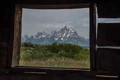 Tetons through the Window (Stoked25) Tags: tetons grandteton window jackson wyoming cunninghamcabin trees logs