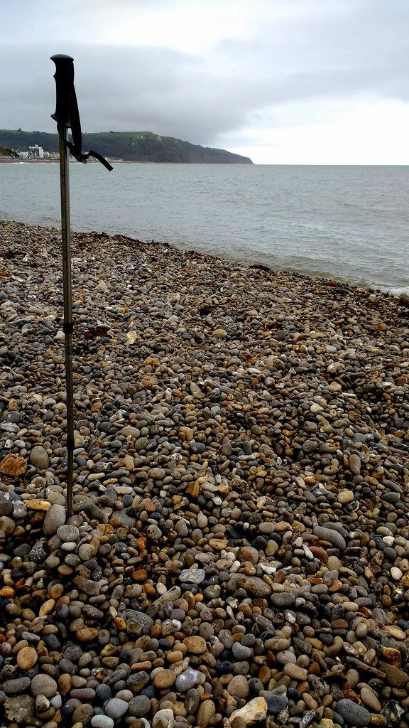 Devon - Seaton Bay pebbles and walking stick