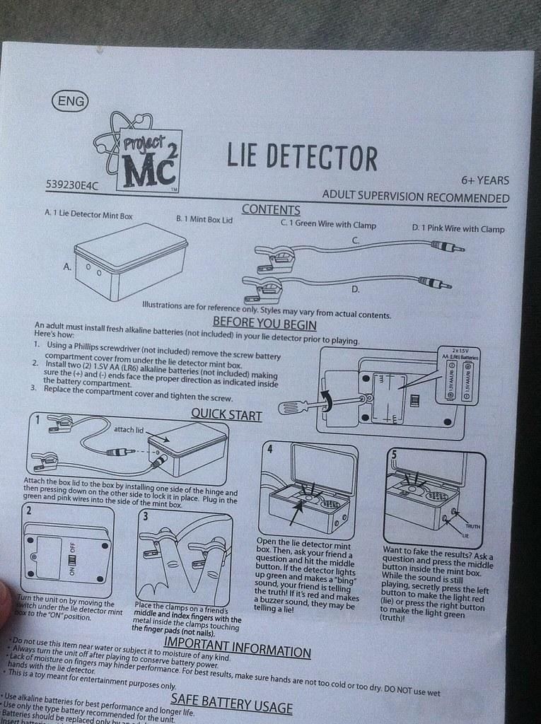 project mc2 lie detector instructions