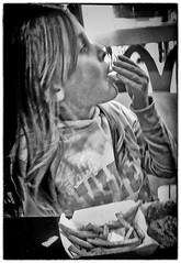 Day 279. (lizzieisdizzy) Tags: inside indoors indoor blackandwhite blackwhite black whiteandblack white whiteblack monochrome mono monotone monochromatic mouth chip chips sitting seated feeding food mcdonalds howiemarsh