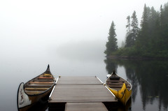 A journey awaits... (Captions by Nica... (Fieger Photography)) Tags: canoe canoeing water landscape lake mist misty forest fog foggy nature quebec canada parc mauricie serene trees tree mornings morning