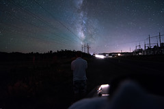 Utah (peaceboy6) Tags: utah milkyway rokinon 14mm nightphotography darksky blacksky clearsky powerlines car lights nikond750 24mp loveley