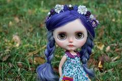 Posey (Chassy Cat) Tags: freckles smirk simply guava blythe simplyguava weepingbeauty alpaca scalp reroot fantasy hair buttonarcade dress chassycat customized custom doll wreath hairband