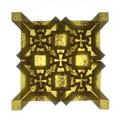 Tessellation: Felix Culpa — backlit (Michał Kosmulski) Tags: origami tessellation square cross flower backlit backlight washipaper michałkosmulski gold brown yellow colorchange