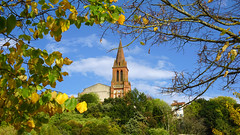Traditional fall (Francoise100) Tags: foliage hautegaronne 31 frankreich france hills colors steeple clocher church autumnal autumn castelnaudestretefonds fall yellow leaves feuillage ciel sky eglise castelnau midipyrénées fronton