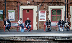"""""""Does anyone know the latest score – I can't look?"""" (whosoever2) Tags: england unitedkingdom uk gb greatbritain sony dscrx100m3 september 2017 railway railroad train stokeontrent staffordshire station traveller passenger mobile phone cell"""