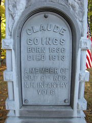 Claude Goings (Steve Dow) Tags: elkins cemetery newlondon nh newhampshire civilwar american veteran grave gravestone claudegoings 8th regiment infantry