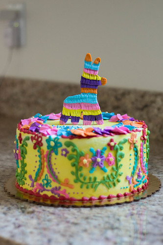 Mexican Embroidery Cake W Piñata Topper