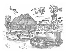 Animal Farm (rod1691) Tags: bw scifi grey concept custom car retro space hotrod drawing pencil h2 hb original story fantasy funny tale automotive art illistration greyscale moonpies sketch sexy