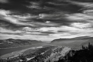 Blue Skies with Wisps of Clouds Above the Columbia River Gorge (Black & White)