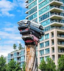 Cars on Cars (TheMrs17) Tags: cars statue sculpture art vancouver canada