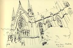 Quai Zorn - Strasbourg (lolo wagner) Tags: croquis sketch usk urbansketchers strasbourg eglise