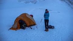Namiot rarowników na lodowcu Kasebi (4000m). Monika. (Tomasz Bobrowski) Tags: wspinanie mountains kasebi gruzja kaukaz góry tetnuldi caucasus georgia climbing