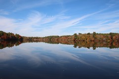 Blue Sky reflection (Read2me) Tags: autumn norwell jacobspond trees reflection water lake pond leaves skyclouds pree cye thechallengefactorywinner ge