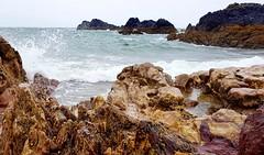 """""""Rainbow Beach""""  Llanddwyn Island (mandysp8) Tags: beach volcanicrocks seaspray waves water greensea"""