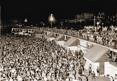 "9 December 1929 - ""Huge crowd of surfers at night; must have been a heat wave"", Coogee, Sydney, New South Wales, Australia (restored version)"