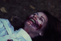 Don't wake me up! (Adam R.T.) Tags: zombie apocalypse zombiewalk portrait blood makeup wedding contrast decay spooky girl woman blurry insane fun fantastic wound creepy