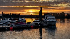 Hues of a Nautical Autumn (Christie : Colour & Light Collection) Tags: sunset boats marina pittriver pittmeadows romance romantic peaceful serene tranquil reflections sundown sunlight dock moored mooring evening outdoors cuddy autumn orange fall nikon