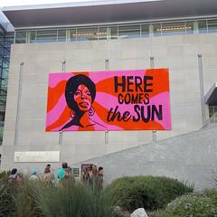 Nina Simone crochet poster in Raleigh, North Carolina (crochetbug13) Tags: crochetbug crocheted crocheting crochet ninasimone crochetposter crochetinstallation raleigh northcarolina herecomesthesun rockrollhalloffame rockandrollhalloffame