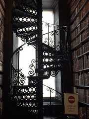 from the Long Room TCD ~ HSS (Wendy:) Tags: iphone trinitycollege dublinuniversity metalwork library longroom tcd hww window silhouette spiral stairs books hss